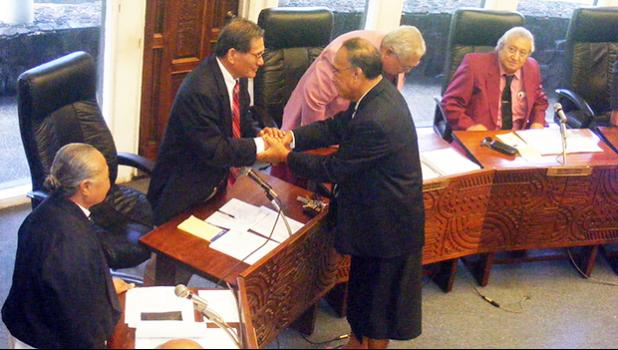 Director of Human and Social Services Taeaoafua Dr. Meki Solomona shortly after his confirmation hearing at the Fono. [SN file photo]