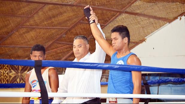 Jeffrey Tago of American Samoa after winning his fight against Iosia Fa'alaniga of Samoa during the International Boxing Championship between the two Samoa last weekend at the Maliu Mai Beach Resort. [photo AF]