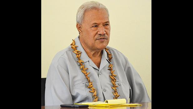 Secretary of the Office of Samoan Affairs, Paramount Chief Mauga Tasi Asuega during the meeting with fautasi captains last Friday afternoon to discuss the fate of this year's Flag Day fautasi race.  [photo by AF]