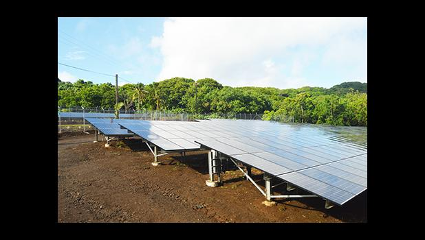 A look at the 1,410 kW of solar PV panels, of the Ta'u Renewable Energy PV project, commissioned Thursday and located on Faleasao village, Ta'u island, in Manu'a. While the project was officially commissioned Thursday, it became operational in the last two days.  [photo: AF]