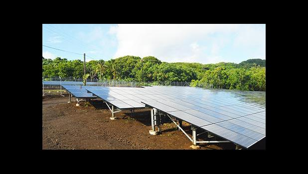 A look at the 1,410 kW of solar PV panels, of the Ta'u Renewable Energy PV project, commissioned in Oct. 2016 and located on Faleasao village, Ta'u island, American Samoa. [SN file photo]