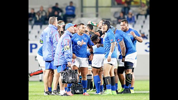 Manu Samoa coaches and players tried to get back on track, but to no avail.  The New Zealand All Blacks defeated Manu Samoa 15s 78-0 at Eden Park, Auckland, New Zealand.   [Photo: Barry Markowitz]