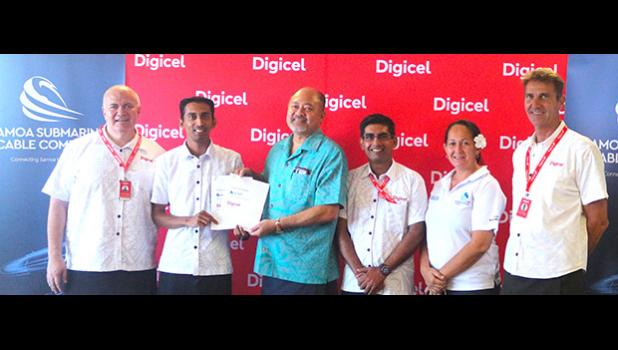 (2nd from left) Digicel Samoa CEO, Mr. Farid Mohammed and (3rd from left) SSCC Board Chairman, Leiataua Alden Godinet with Digicel and SSCC officials announced on Wednesday, Feb. 21, 2018 that it's the first company to sign up with the Tui Samoa cable.  [Courtesy photo]