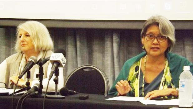 UN human rights experts Kamala Chandrakirana (R) Eleonora Zielinska (L)  [Photo: Autagavaia Tipi Autagavaia]
