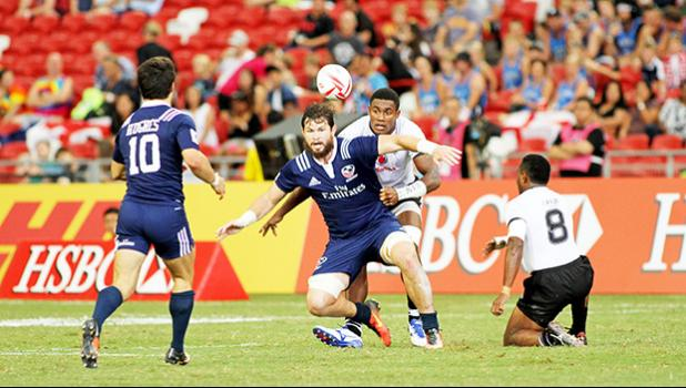 The USA Eagles (American Samoa's other team) made a huge impact in the HSBC Sevens by upsetting favorite Fiji 24-19 at the Singapore HSBC Sevens, Day 2, National Stadium, Singapore.  [Photo: Barry Markowitz]