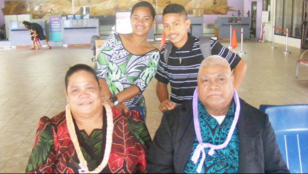 Rev. Steven Uitalia (left) along with his wife and their two grand children (pictured in the back), at the Pago Pago International Airport on Sunday morning were among the first nine-passengers on Talofa Airways' ingural flight from American Samoa to Nuku'alofa, Tonga on Sunday, July 2.  [photo: FS]
