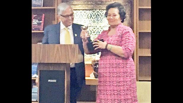 Dr. Underwood presents Congresswoman Amata with the 2017 Distinguished Alumnus Award. [courtesy photo]