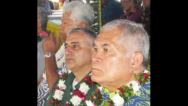 [l-r] American Samoa Power Authority board chairman Fonoti Perelini Perelini; Louis Berger Group official Raymond Mardini, and ASPA executive director Utu Abe Malae at yesterday's dedication ceremony for the new Satala Power Plant. [photo: Leua Aiono Frost]