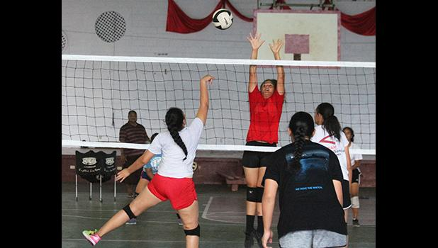 Team Amerika Samoa's Girls All-Star Volleyball squad during a practice session held at the Tafuna High School gymnasium in preparation for the Junior Prep Sports (JPS) Paradise Classic III set to be held in Honolulu this week.  [photo: TG]