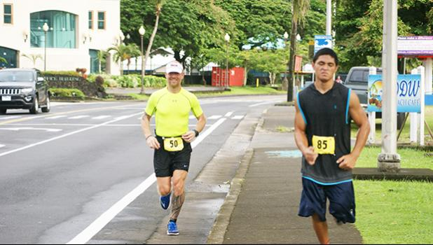 Heart N Sole fun run celebrating Valentines Day through a 5k &14k run last Saturday, had Richard Birgander and Poe Hisitake were the only two who ran the whole 14k run from SPW to Nuuuli then back to Pago Pago and then finished in Utulei at the SPW.   [photo: Ese Malala]