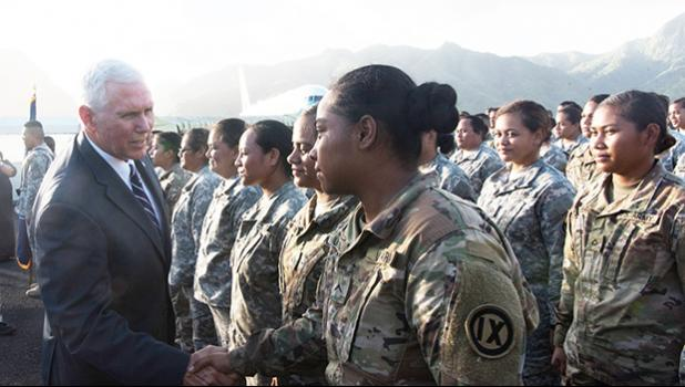 Vice President Pence greeting members of the U.S. Army Reserve in American Samoa in 2017.  [courtesy photo]