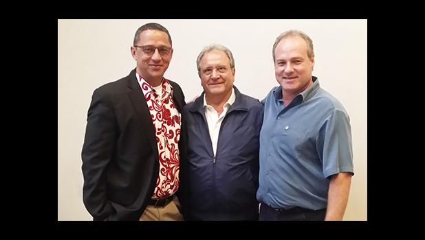 Baseball Oceania Vice President J. Victor Langkilde (left), World Baseball Softball Confederation President, Riccardo Fraccari (middle) and Baseball Oceania President, Laurent Cassieer (right), during the Oceania Region meeting last week in New Zealand.   [courtesy photo]