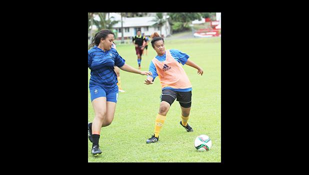 Women's soccer action between a Green Bay (left) and Royal Puma opponents on Match Day 5 of the 2016 FFAS National League on Saturday, Sept. 17, at Pago Park Soccer Stadium.