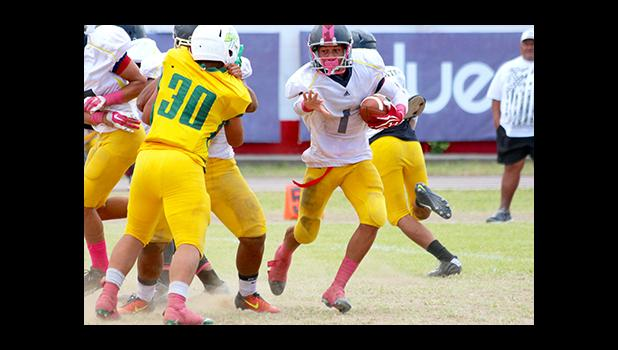 Samoa News selected the sophomore running back from Nu'uuli Vocational Technical High School – Wildcats Football Team: Iosefa Mauga (#1), as the Player of the Game in his marvelous performance against Leone. Mauga racked up 3 touchdowns, rushed for almost 200 yards.  [photo: TG]