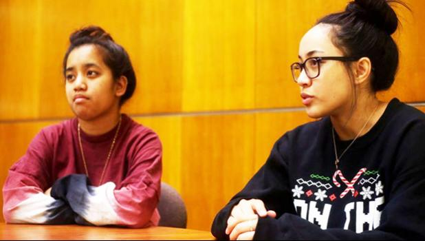 Senior global politics and comparative ethnic studies major Roanna Zackhras, left, and senior biology major Ula Pele say officials could promote diversity by visiting the Samoan community on campus. [ABBY LINNENKOHL | The Daily Evergreen]