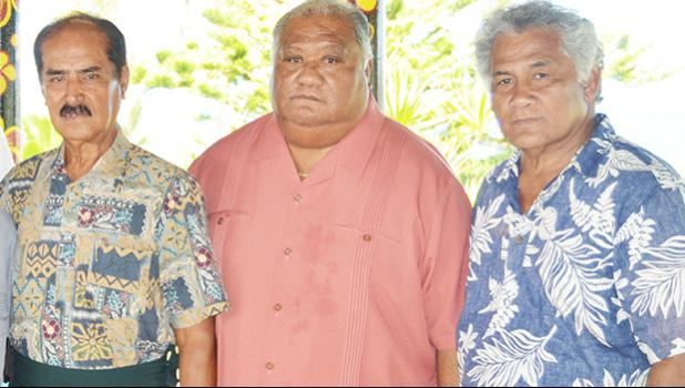 [l-r] Sen. Satele Galu Satele Sr., along with Tuiasina Sosene Esera, and Tuiasina Dr. Salamo Laumoli following a Western District meeting of traditional leaders Monday morning at Satele's Guest House in Vailoatai. Read Samoan story in today's Lali section. [photo: AF]
