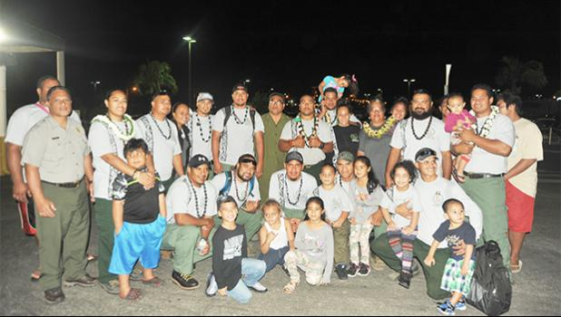 Families and friends of the fire crew from American Samoa gathered at the airport last Friday to say farewell to their loved ones. A crew of 13 fire fighters departed last Friday for the second time this year to fight wildfires in California.  [photo: NPSAS]