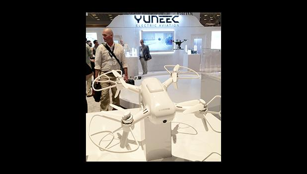 """Yuneec's """"Breeze"""" is the perfect family gift this holiday. It does family selfies, tracks your kids in action, allows immediate social media posting... all at a family friendly price.    [Photo by Barry Markowitz 9/8/16, InterDrone 2016, Paris Hotel, Las Vegas, Nevada, USA.]"""
