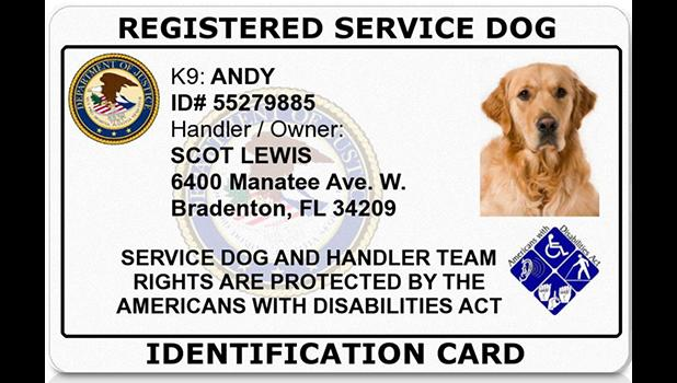Sample of an ADA registered service dog ID