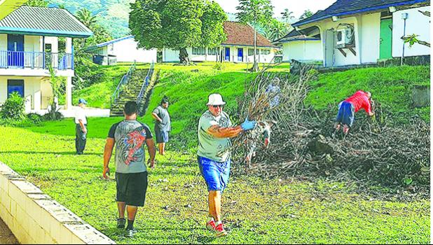 In this Samoa News file photo, DPS and DHSS workers in August 2017 working to prepare the campus of Pava'ia'i Elementary School.