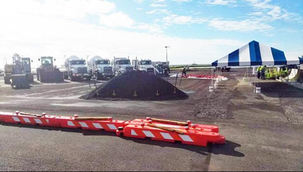 Equipment staging for airport apron rehab by Paramount builders