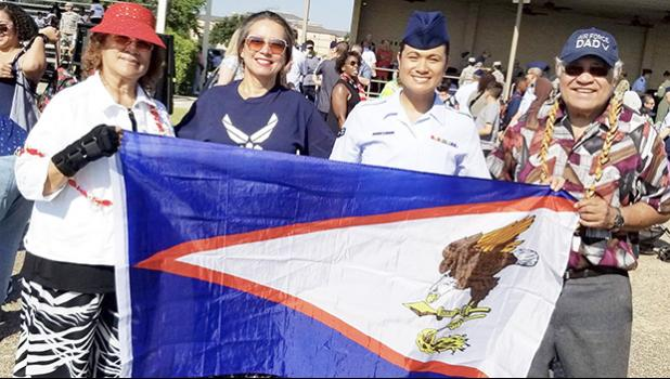 Airmen 1st Class Jacqueline Ale is pictured with parents- Tifi  Ale and Fuji Nomura Ale, and elder sister Delta Pilot Laura Ale-Englebrecht