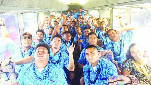 eam Amerika Samoa on the road in the 808 State of Hawaii – on their way back to Waikiki from a church service that was held in Waipahu, as they were hosted by the Waipahu Methodist Church this past Sunday. [photo: courtesy]
