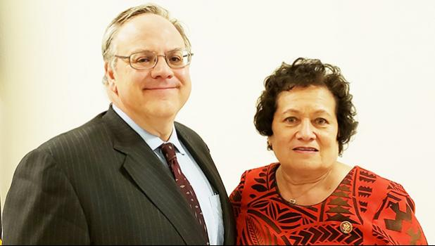 In this Samoa News file photo, U.S. Secretary of the Interior David L. Bernhardt is pictured with Congresswoman Aumua Amata.