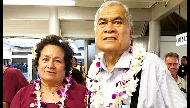 Aumua Amata with Utu Abe Malae just this past week, when they both arrived in the territory on the same flight
