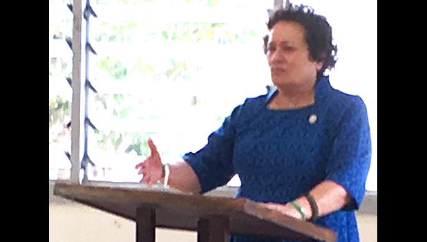 Aumua Amata in American Samoa speaking at a recent town hall.