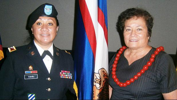 Congresswoman Aumua Amata and her Chief of Staff, retired Colonel Leafaina Yahn