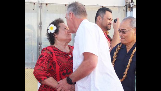 Aumua Amata greets Sec. Zinke