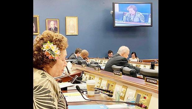 Congresswoman Uifaatali Amata speaking on screen