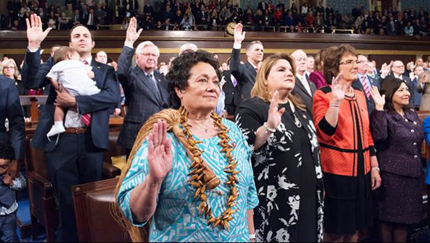 Congresswoman Amata and colleagues taking the oath of office