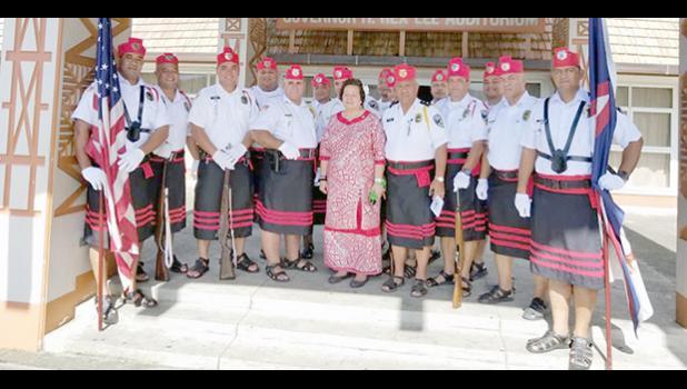 Congresswoman Aumua Amata  and Fitafita guard
