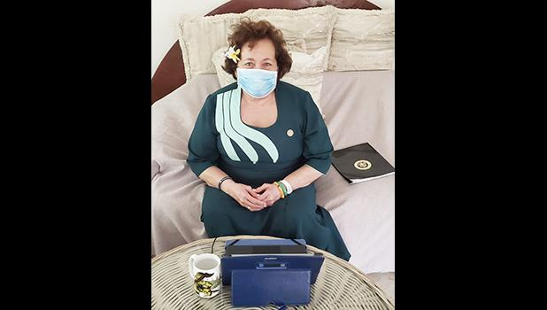 Congresswoman Aumua Amata with cloth face mask