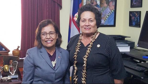 Congresswoman Amata with RMI President Hilda Heine