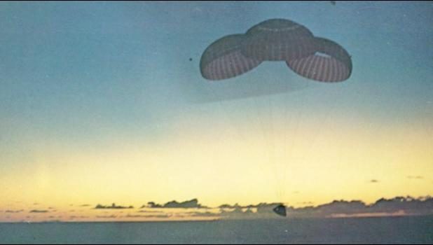 Dawn was just breaking as Apollo 10 gently floated down into the Pacific 395 miles east of Pago Pago