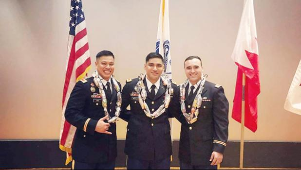 (l-r) Second Lt. Salvation Lee of Aua, First Lt. Fred Meaole of Amanave, Second Lt. Jesse Scanlan of Malaeimi