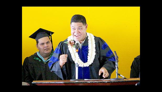 "Newly elected Representative Samuel Meleisea exhorted the 65th ASCC graduating class during his keynote speech, to remember that family support is what will ensure your success — ""It's important for you to know that whatever you do and where ever you go, they'll always be there for you."" The commencement ceremony took place last Friday morning at the ASCC gymnasium. See story inside. [photo: TG]"