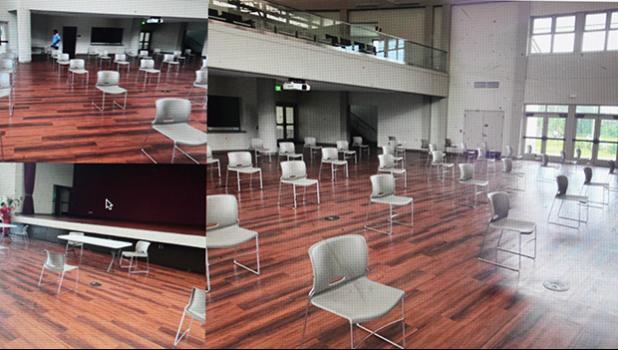 ASCC auditorium showing chairs set up for social distancing