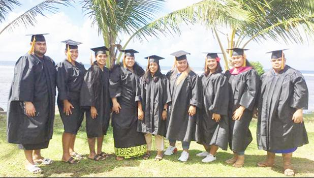 Nine of the 10 graduates with degrees in business