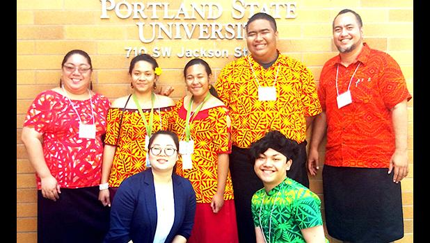 ASCC-ACNR faculity member Pauline McFall, current ASCC students Sherlean Amato, Chloe Tuaua, and Darius Shimasaki-Vaofanua, and ASCC faculty member Derek Helsham.