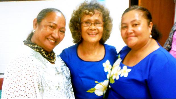 Dr. Faofua Faatoafe (center) relaxes with Business Ambassadors of ASCC (BAOA) President Mayanne Faatau (right) and special guest Leiua Aiono Frost of Samoa News