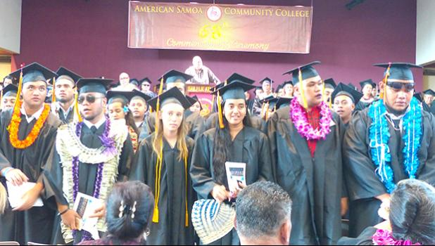 Some of the 132 graduates of the American Samoa Community College's Spring 2018 Commencement  Ceremony held last Friday morning when Commencement speaker, Lt. Gov. Lemanu Sialega Palepoi Mauga (on stage) called on them to turn towards their parents, family members and others in the audience - to thank them for their support. [photo: Leua Aiono Frost]