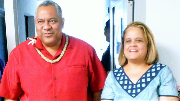 Lt. Governor Lemanu Peleti Palepoi Sialega Mauga conferring with ASCC President Dr. Rosevonne Makaiwi-Pato earlier this semester. Lemanu will give the keynote address at the 68th ASCC Commencement Ceremony tomorow, Friday, May 18, beginning at 10 a.m. in the Auditorium of the College's new Multi-Purpose Center.  [photo: J. Kneubuhl]