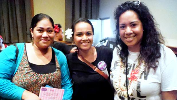 """Organizer Doris Tulifau (right) celebrates after the conclusion of a successful Poetry Slam at ASCC in late April. Joining her are guest speaker Sala Pa'au (left) and Sina Auva'a Hudson of the ASCC Student Services Division. The Poetry Slam, which featured students from ASCC and local high schools, went by the theme """"Embrace Your Voice"""" to empower young people to speak out about domestic and sexual violence.  [photo: J. Kneubuhl]"""
