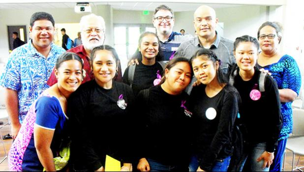 Miss ASCC Grace Lagai (front, far left) and members of the judging panel congratulate the Samoana High School students