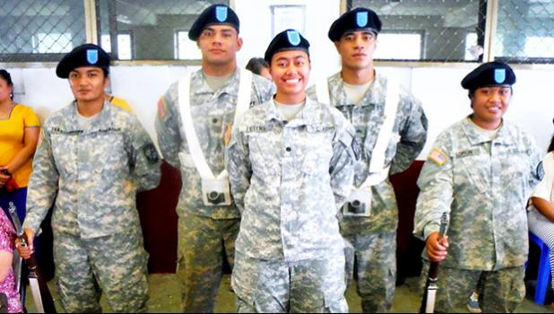 Some of the 33 ASCC students enrolled in the ROTC program.