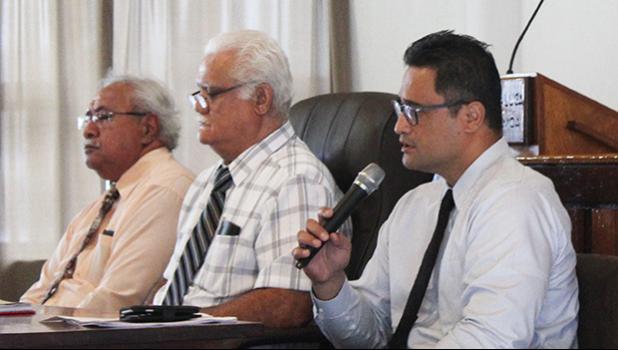 Iulogologo Joseph Pereira; board chairman, ASG Treasurer, Uelinitone Tonumaipe'a; and board vice chair, Attorney General Talauega Eleasalo Ale